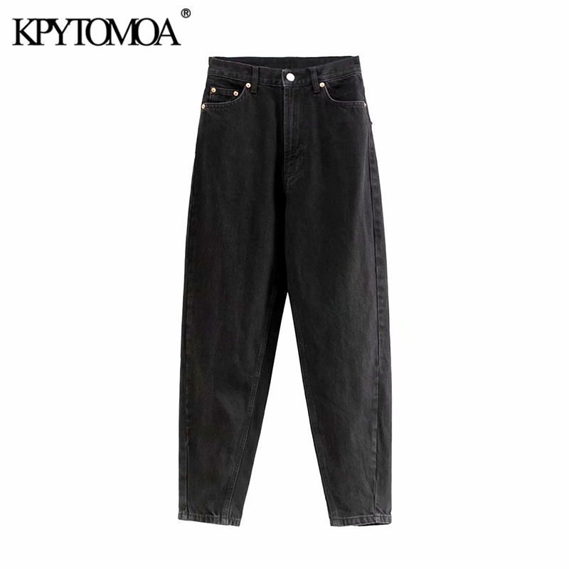 Vintage Stylish High Waist Denim Harem Pants Women Jeans 2020 Fashion Zipper Fly Pockets Female Ankle Trousers Pantalones Mujer
