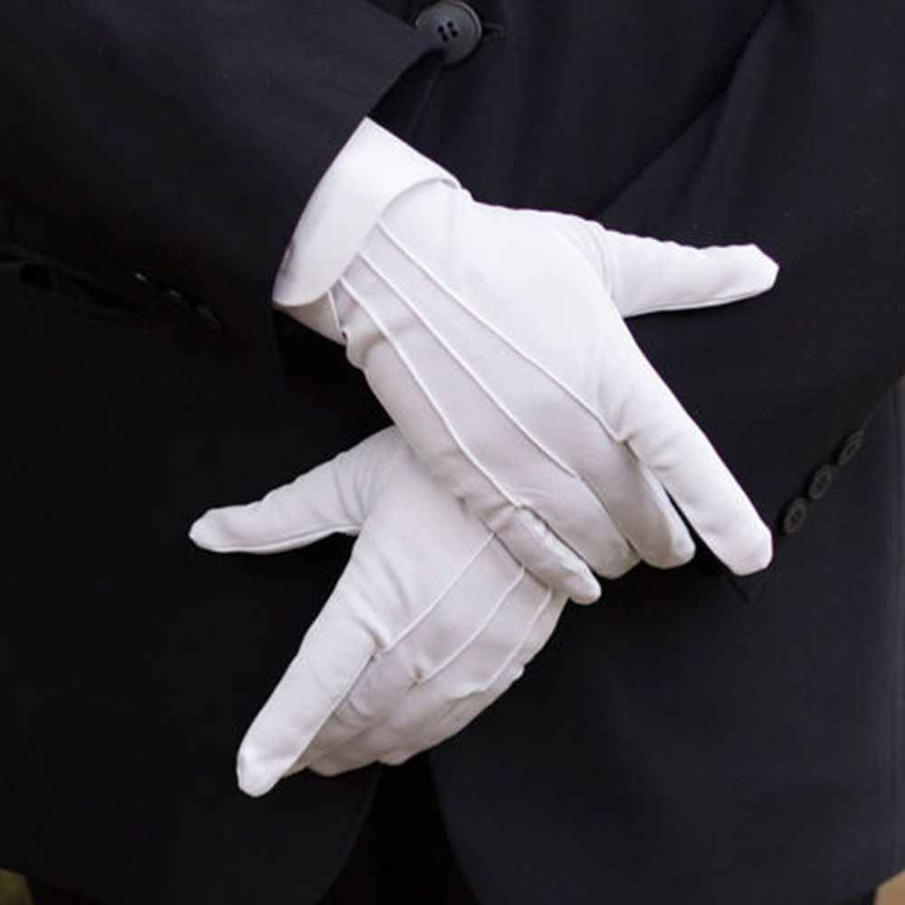 1Pair White Formal Gloves Tuxedo Honor Guard Parade Inspection Collection Serve Thin Gloves Thick Gloves Performance Gloves Men