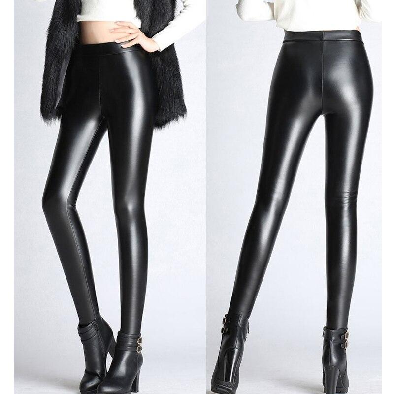 BGTEEVER Spring Autumn Winter Soft PU Leather Pant Women Velvet Pants Warm Stretch Skinny Trousers Pencil