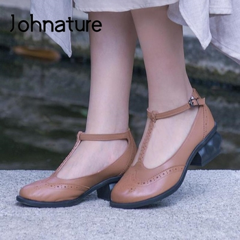 Johnature High Heels Sandals Women Shoes Retro Genuine Leather 2020 New Spring Summer Buckle Strap Shallow Casual Ladies Sandals