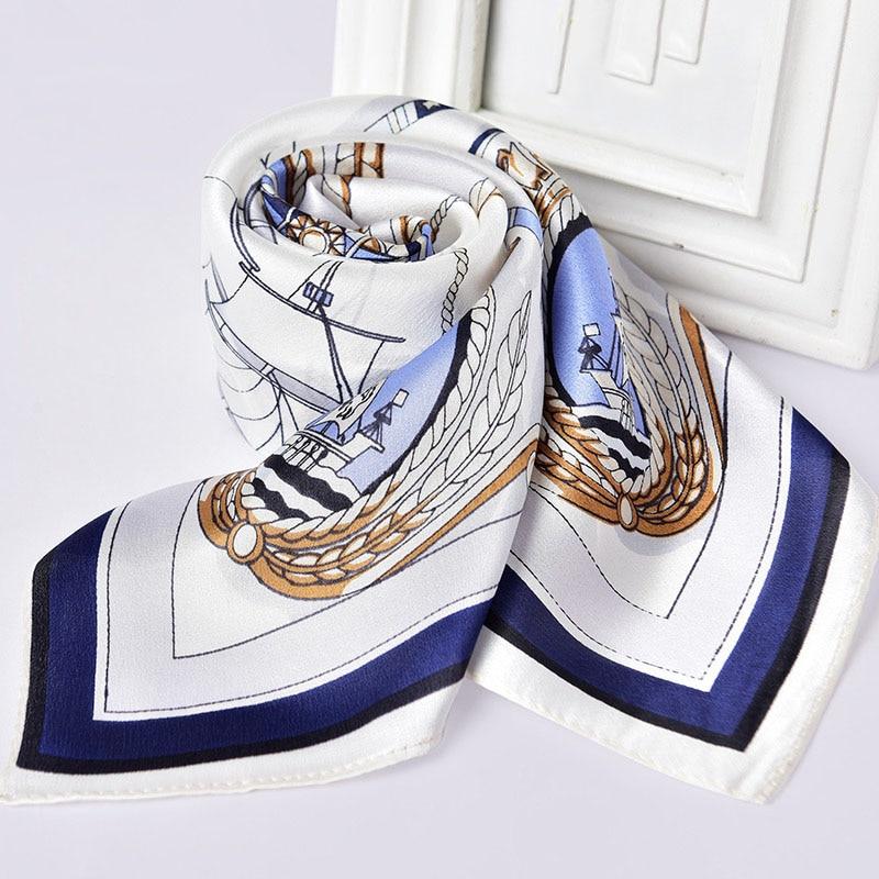 100% Natural Silk Scarf for Women Print Neckerchief Square Silk Echarpe Femme Headscarf Pure Silk Hairscarf Bandana 65x65cm