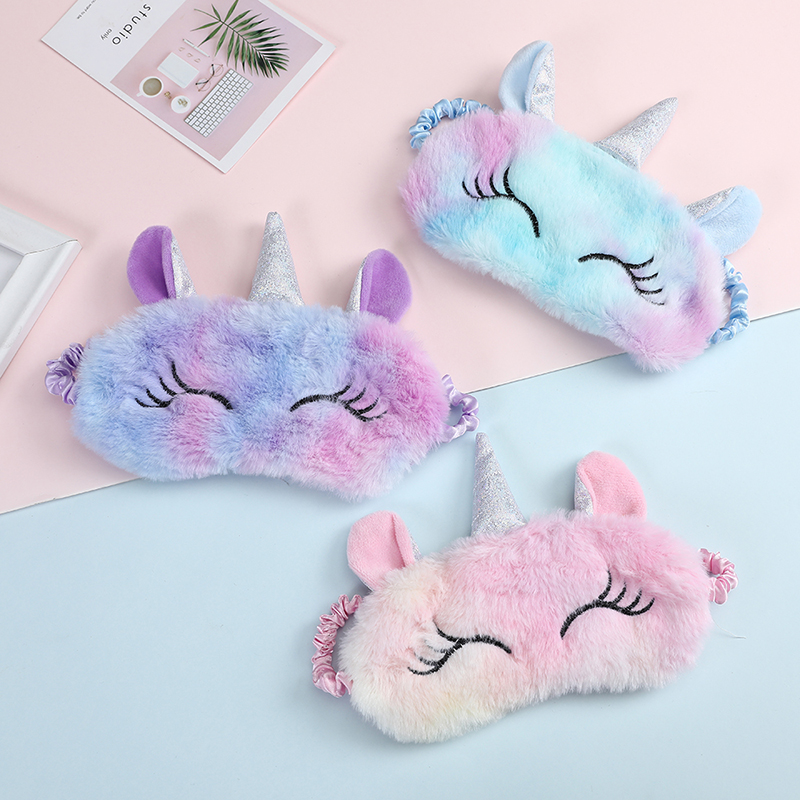 Children Unicorn Plush Eye Mask Colorful Fur Sleeping Eye Band For Women Winter Travel Cute Soft Animal Eye Cover Blindfold