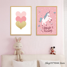 One Piece Poster Unicorn Decoration Canvas Painting Pink Heart Cartoon Nordic Home Baby Room Decor Unframed