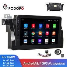 """Podofo 2din BMW Автомагнитола """" Android 2+ 32G gps навигация Wifi Bluetooth Авторадио автомобильный мультимедийный плеер для BMW E46 стерео"""