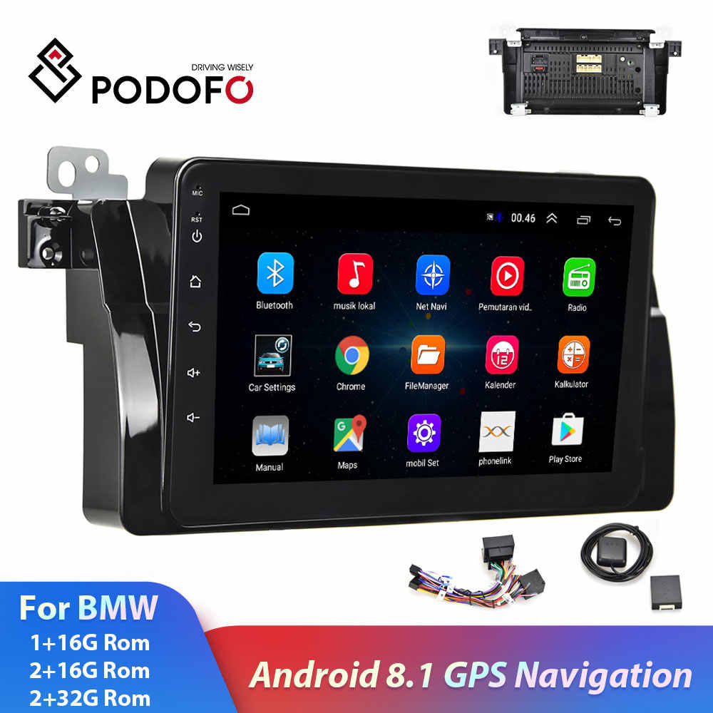 "Podofo 2din BMW Car Radio 8""  Android 2+32G GPS Navigation Wifi Bluetooth autoradio Car Multimedia Player For BMW E46 Car Stereo"