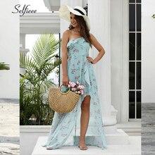 Sexy Floral Printed Maxi Dress Women A-Line One-Shoulder Ruffles Side Split New Fashion Beach Ladies Casual Streetwear