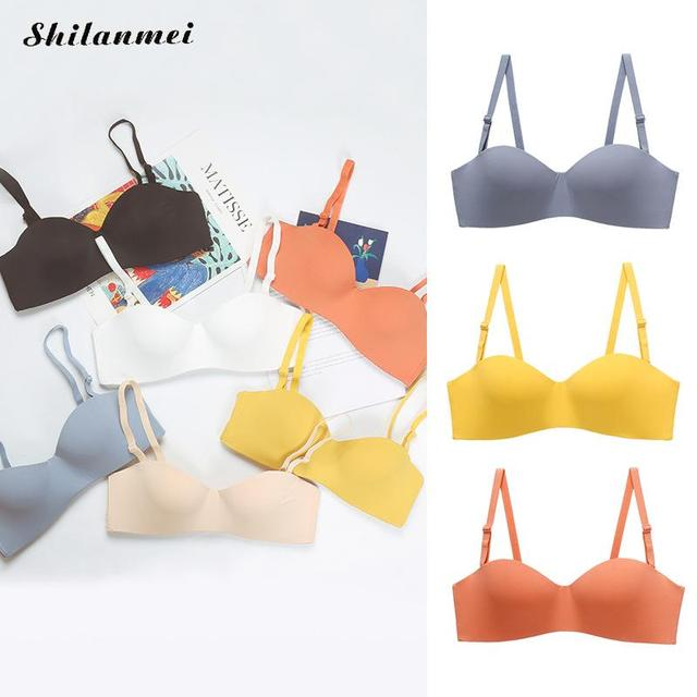 Sweet Bra For Girls Teenager Solid Color Adjusted-Straps Push Up Bras Simple Basic Female Underwear Seamless Small Chest Bra 6