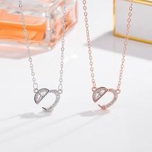 цена на S925 Fine Silver Hear Romantic Heart Shape Necklace Women's Versitile Fashion Hollow out Heart Choker
