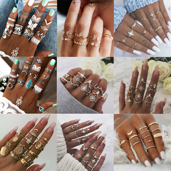 Bohemian Crystal Star Moon Butterfly Rings Vintage Mixed Geometric Joint Knuck Rings Set Women Finger Rings Jewelry image