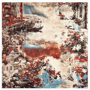 Image 2 - 2020 New Winter Scarf Van Goghs Oil Painting Luxury Brand Twill Silk Wholesale Square Scarf Kerchief Shawl Scarves For women