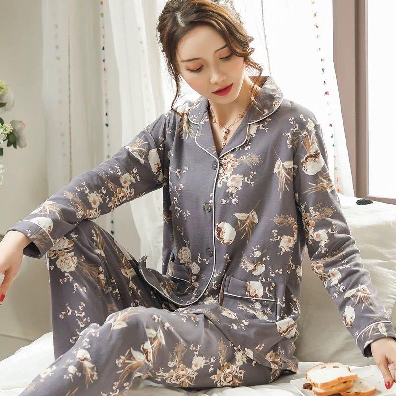 Las mujeres, Set de pijamas de algodón ropa de dormir de mujeres giro-abajo Collar de mujer Pijamas Casual Homewear pijama mujer