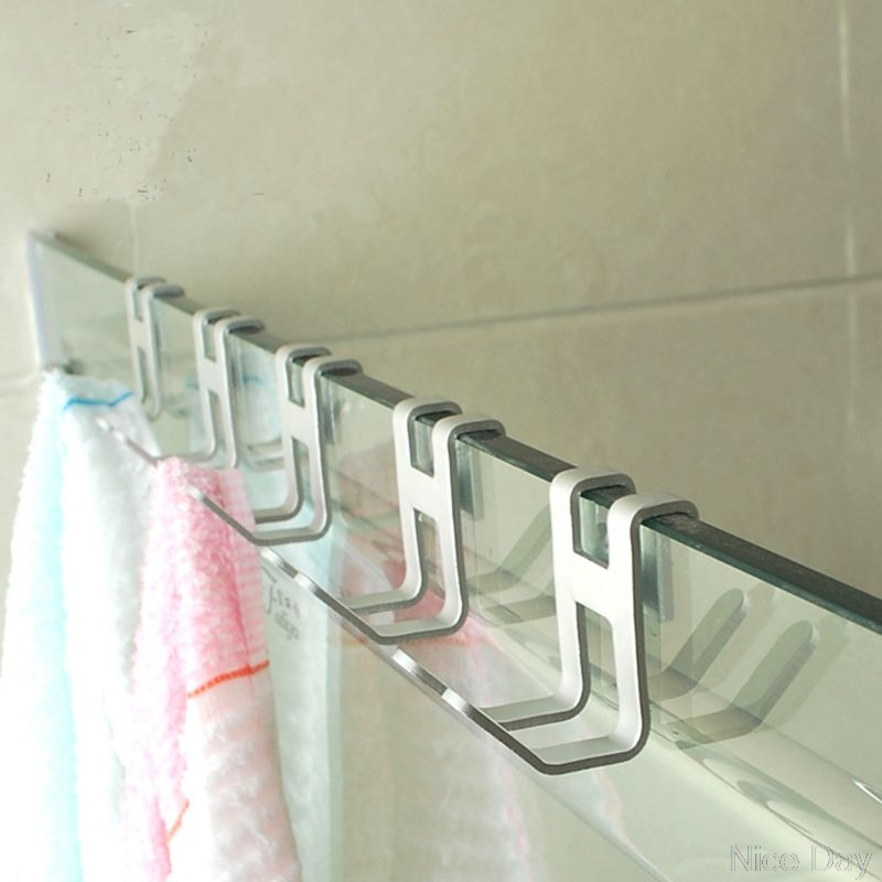 4PCS Space Aluminum Shower Glass Door Hook Free Hole Towel Rack Hanger Key Organizer My25 20 Dropship