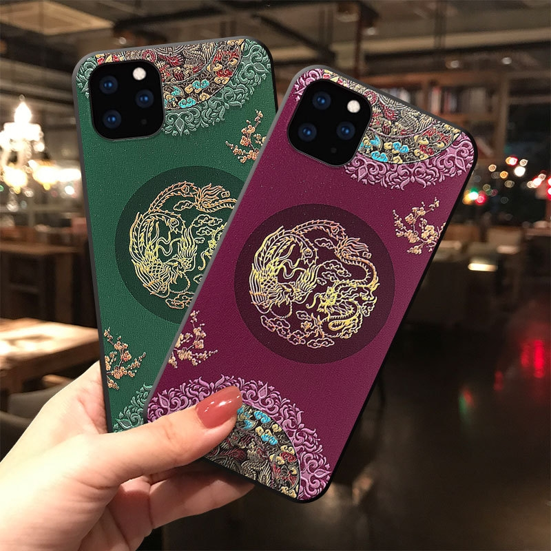 Embossed 3D Antiquity Style Shockproof Cover Case for iPhone 12 Pro Max 1