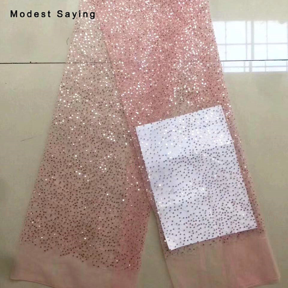 2 Yards Pink Sequins Fabric for Evening Dresses Wedding Party Sparkly Glitter Cloth for Handmad Craft Mesh Decoration Material