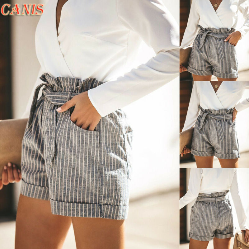 2019 Womens Striped High Waist Shorts Bandage Pockets Ladies Summer Casual Beach Mini Shorts Streetwear S-XL