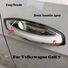 Chrome Car styling Door Handle bowl Cover Trim Sticker stainless steel For Volkswagen VW Golf 7 Car accessories full window trim decoration strips for vw golf 7 2013 2017 stainless steel high quality chrome trim car styling