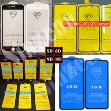 Sinzean 100Pcs 9D/10D Volledige Lijm Gehard Glas Voor Iphone 12 Pro Max/11 Pro/Se 2020/Xs Max/Xr/6/7/8 Plus 2.5D Volledige Overdekte Glas
