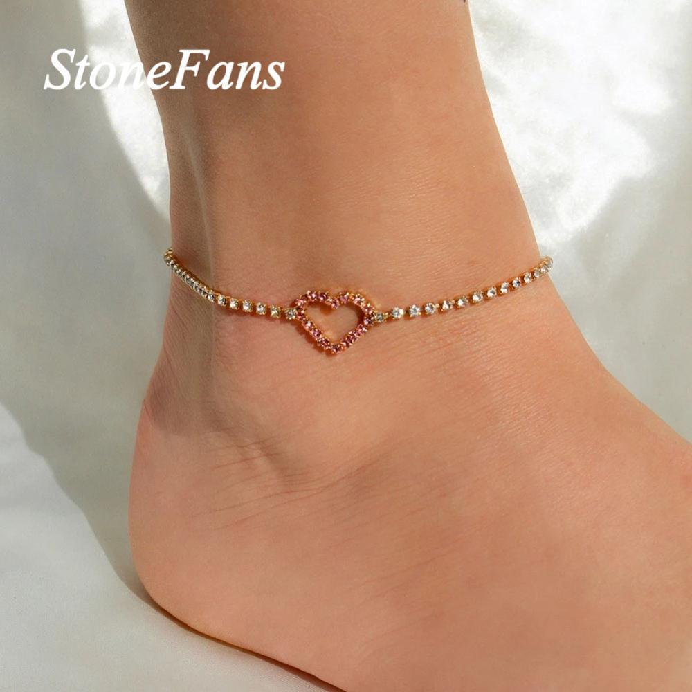 Stonefans Simple Bling Rhinestone Chain Heart Anklet Bracelet Sandals For women Summer Beach Barefoot Foot Chain Anklet Jewlery