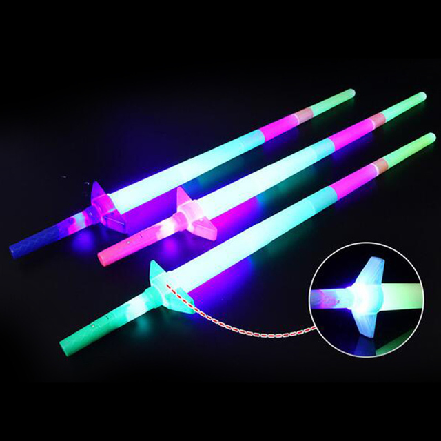 4 Section Extendable LED Glow Sword Kids Toy Flashing Stick Concert Party Props Colorful Light Up Glowing gift for children