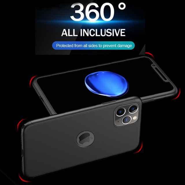 Luxury 360 Curved Full Cover For iPhone 11 Pro Max Protective Case For iPhone XR XS Max X 11 6 6s 7 8 Plus Shockproof Case Glass