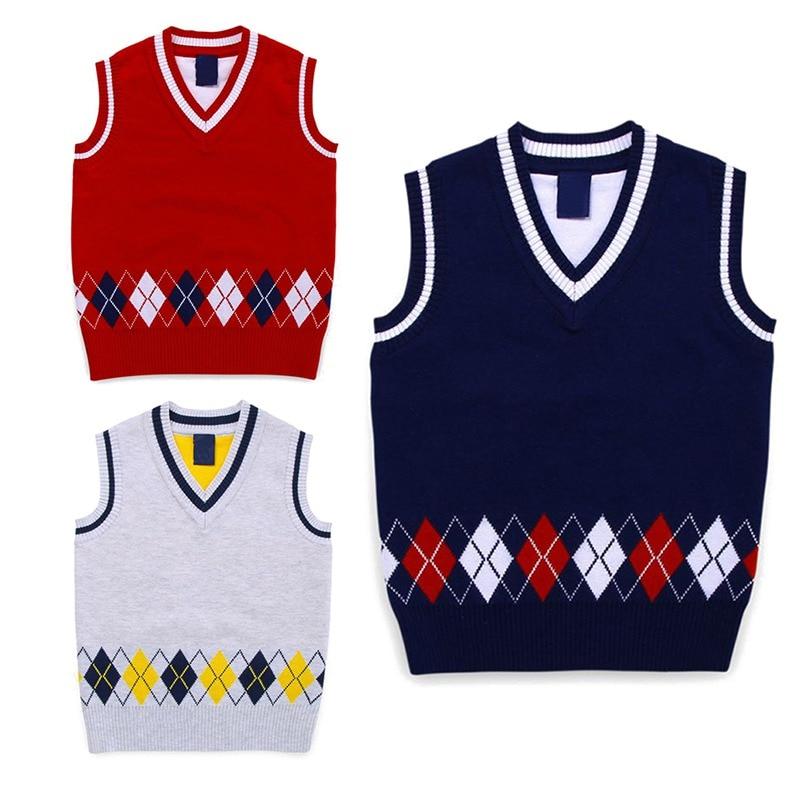 Autumn/Spring Casual Kids Boys Girls Outerwear Sweater Vest Argyle V Neck Sleeveless Pullover Knit School Waistcoat 2-7T 1