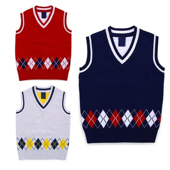 Autumn/Spring Casual Kids Boys Girls Outerwear Sweater Vest Argyle V Neck Sleeveless Pullover Knit School Waistcoat 2-7T 1