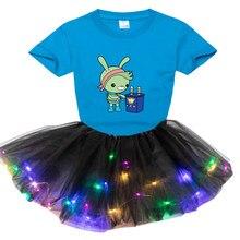 Meninas conjuntos de roupas luz tutu vestido + t camisa festa de halloween festival vestido de presente de aniversário de casamento meninas natal 2-8 anos
