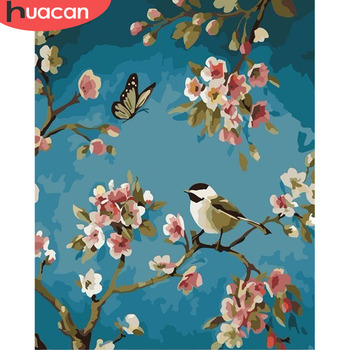 HUACAN Pictures By Numbers Flowers Bird HandPainted Drawing Kits Canvas DIY Oil Painting Home Decoration Gift