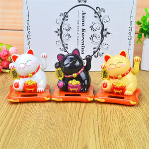 Creative Cute Shaking Hands Lucky Cat Solar power Fortune Crafts Figurines Miniatures Wealth Waving Cat Ornament Birthday Gift