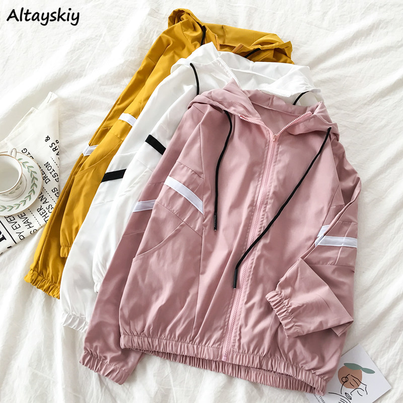Jacket Women New-Arrival Pink Clothes With Hooded Womens Jackets And Coats Drawstring Streetwear Students Coat Lightweight Chic