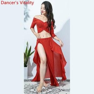 Image 4 - Hot Sales Vrouwen Team Top Sexy Split Rok 2 Stuk Buikdans Set Oosterse Indian Dancer Prestaties Tonen Kleding Podium dragen