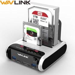 Disco duro externo Wavlink SATA HDD de 2,5 pulgadas y 3,5 pulgadas, estación de acoplamiento USB 3,0, lector de tarjetas clon sin conexión de 5Gbps para disco duro de hasta 10TB