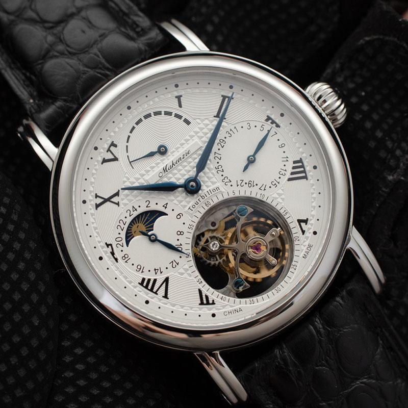 Haut de gamme pilote Tourbillon chronographe montres homme Phase de lune ST8007 mouvement mode hommes calendrier montre mécanique réserve de marche