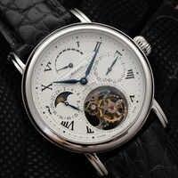 High-end-Pilot Tourbillon Chronograph Uhren Mann Mond Phase ST8007 Bewegung Mode Männer Kalender Mechanische Uhr Power Reserve