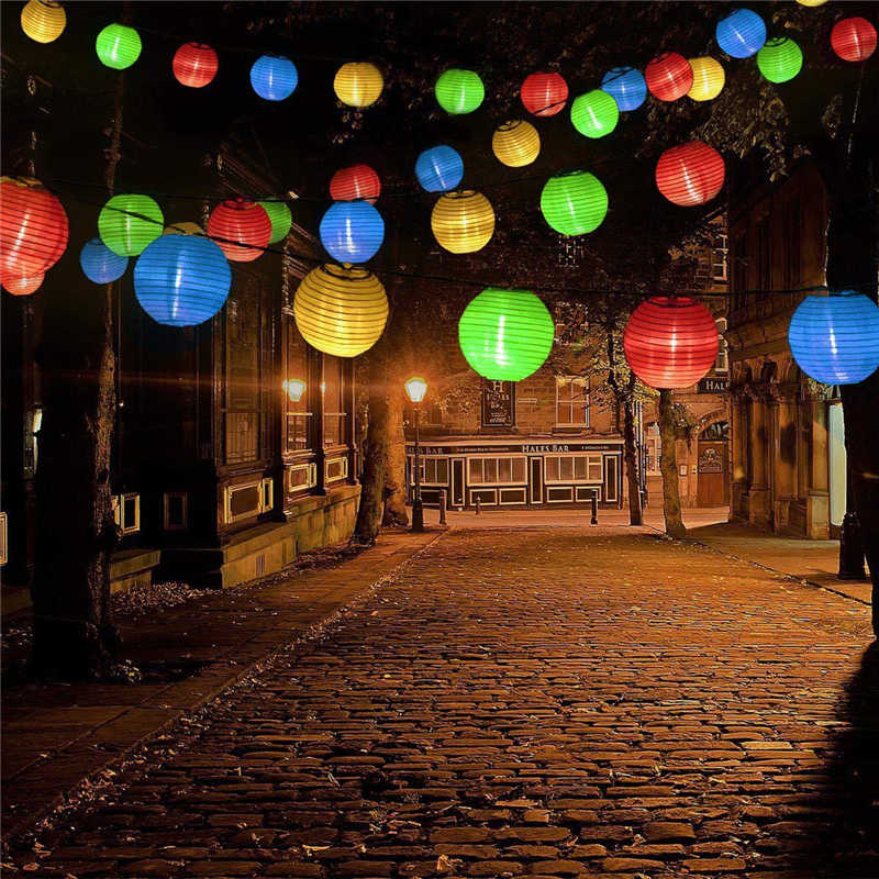 LED Solar Lantern String Lights Outdoor Garden Lantern Birthday Wedding Decor Gift Craft DIY Lampion Hanging Ball Party Supplies