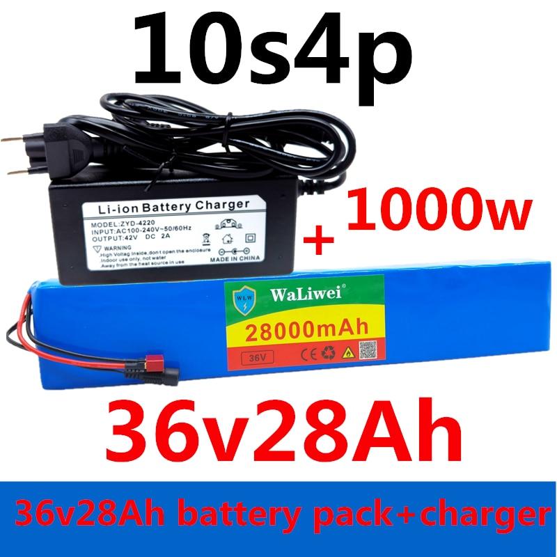 36V батарея 10S4P 28Ah 18650 Батарейный блок 1000 Вт 42В 28000 мАч цилиндрическая литий-ионный аккумулятор для электрического велосипеда с BMS + зарядное ус...