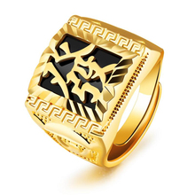 Classic exaggerated domineering gold men's gold ring stainless steel inlaid black zircon ring ethnic style ring jewelry VR573 недорого
