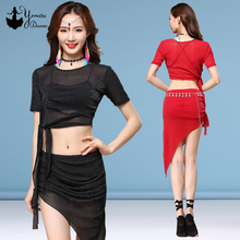New Belly Dance Costume Practice Clothes Triangle Hip Scarf Style Skirts Short Sleeve Tops Dress Adult Female 2020 Spring Summer