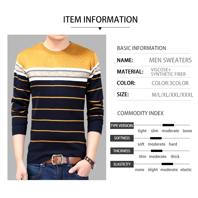 2020 Autumn Casual Men's Sweater O-Neck Striped Slim FitKnitt wear Mens Sweaters Pullovers Pullover Men Winter Clothes