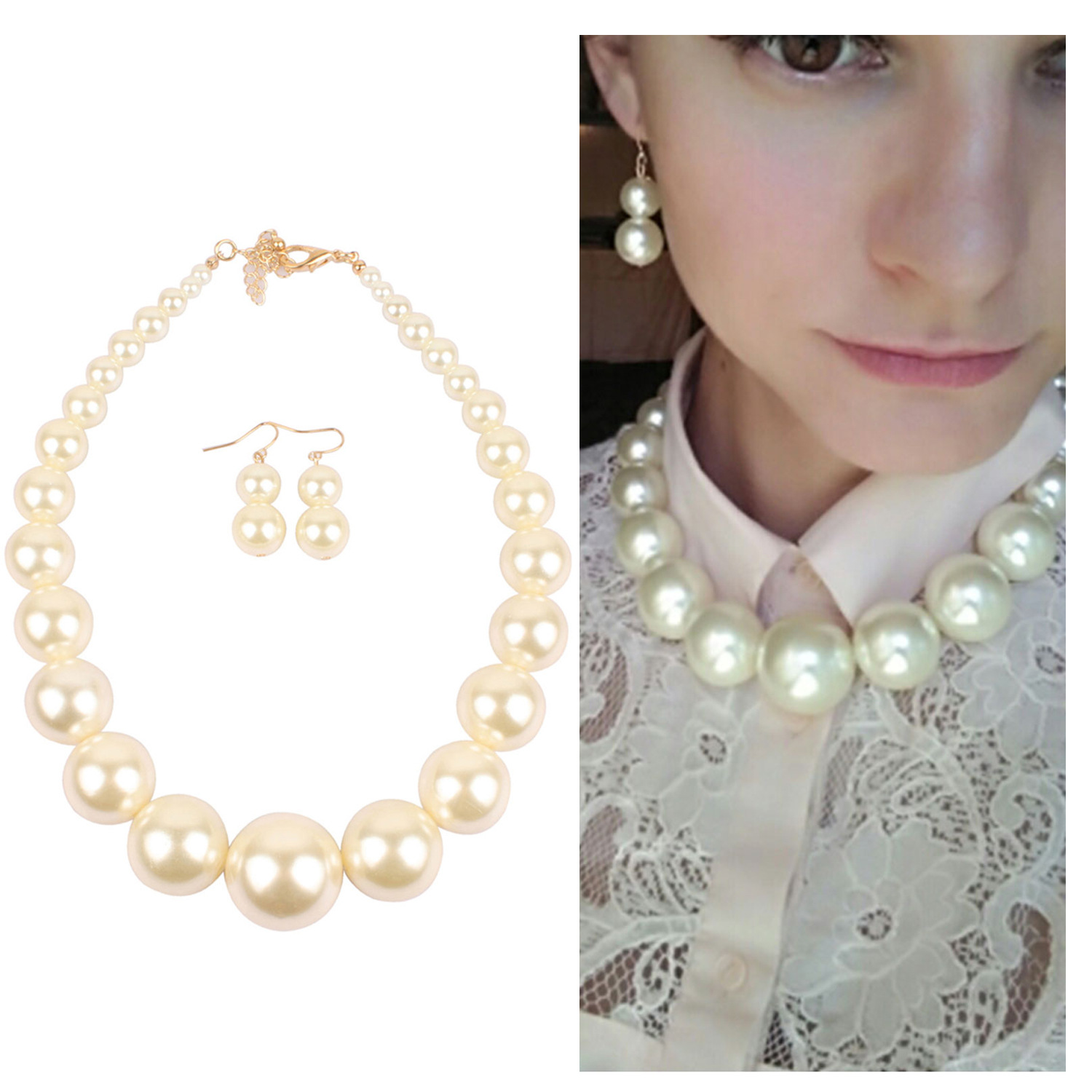 Big Pearl Necklace Earrings Bridal Jewelry Set for Women Clear Crystal Elegant Wedding Party Gift Fashion Costume Jewelry|Jewelry Sets|   - AliExpress