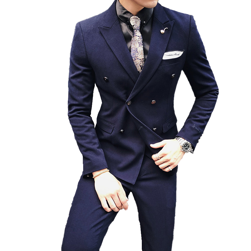( Jacket + Pants ) High-end Embroidery Solid Color Mens Casual Business Double-breasted Suit 2pcs Set Groom Wedding Dress Tuxedo