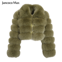 Jancoco Max New Arrival Natural Fur Jackets Women's Fashion Fox Fur Short Coats Winter Overcoat Female Fur Outerwear S7636