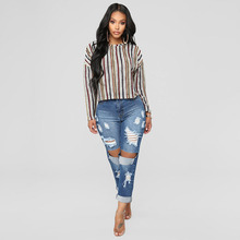 Plus size Hole ripped jeans women harem pants loose ankle-length pants Boyfriends For woman Ladies skinny jeans 2019 new free shipping 2017 loose hole jeans female ankle length trousers beggar pants plus size harem pants women s jeans