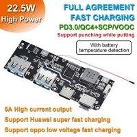 QC4.0 QC3.0 LED Dual USB 5V 4.5A 22.5W Micro/type-c USB Mobile Power Bank 18650 modulo di ricarica protezione temperatura/circuito