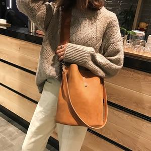 Image 2 - Torba damska torba na ramię o dużej pojemności Vintage matowy PU torebka damska skórzana luksusowy projektant Bolsos Mujer czarny