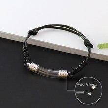 2pcs vidro frasco pingente pulseira nome de escrita wirte no arroz moda jóias charme pulseiras para mulher