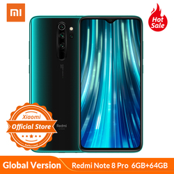 Versão global xiaomi redmi nota 8 pro 6 gb 64 gb telefone móvel 64mp quad câmera mtk helio g90t octa núcleo smartphone 4500 mah nfc