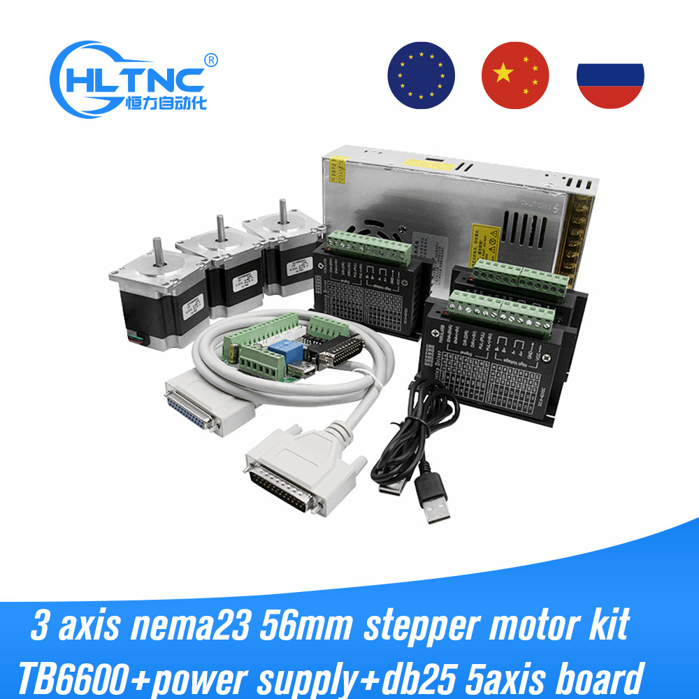 RU EU 3pcs 57HS56 1.2n Nema23 stepper motor with TB6600 driver and 5 Axis parallel port Interface board for cnc milling