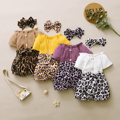 3M-3T Baby Girl Clothes Ruffle Button Top Tshirt Leopard Shorts Headband Set Newborn Girl Clothing Toddler Baby Girls Outfits