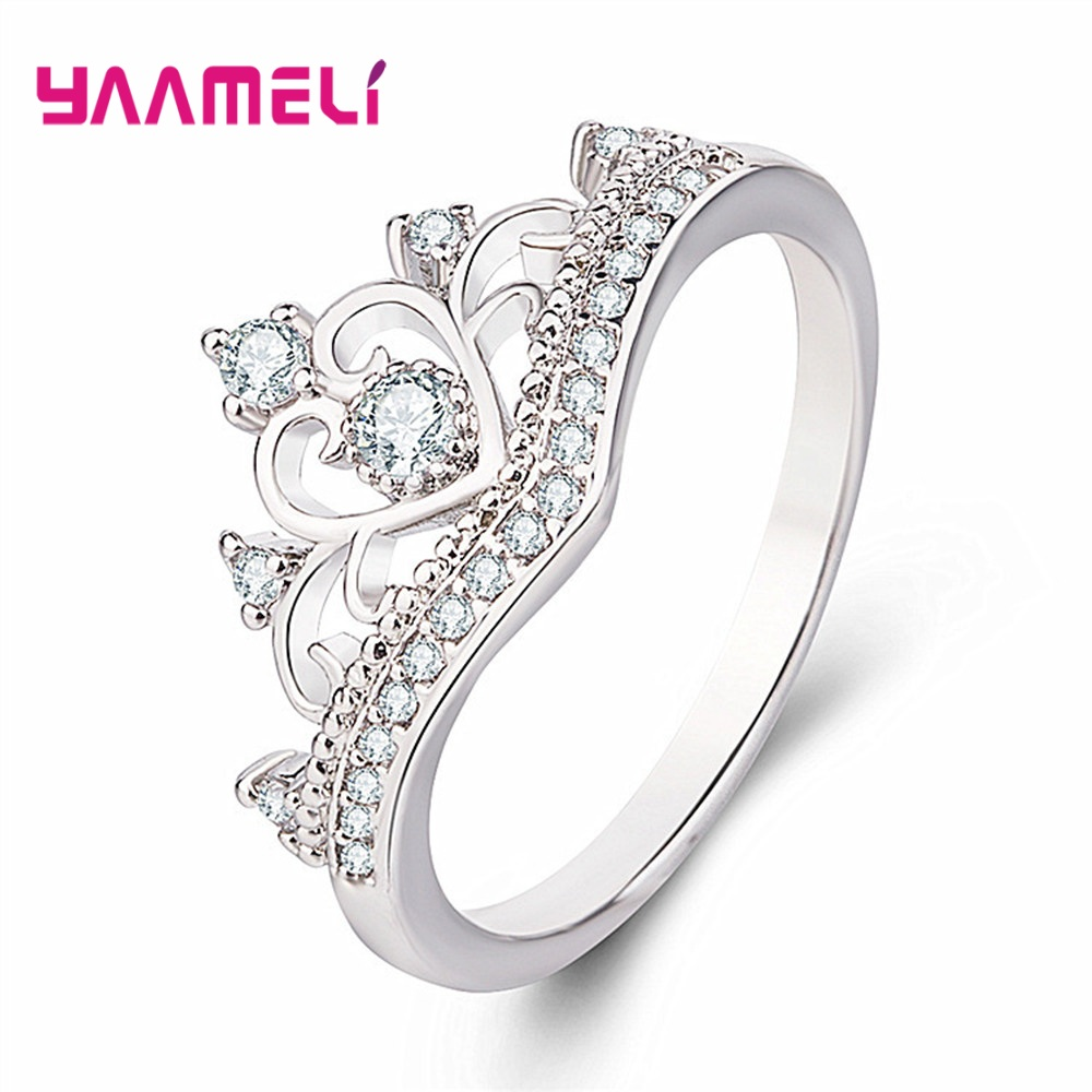 Fashion Crown Shape Round Cubic Zirconia Rings For Women Female Pure 925 Sterling Silver Jewelry Rings Party Decoration